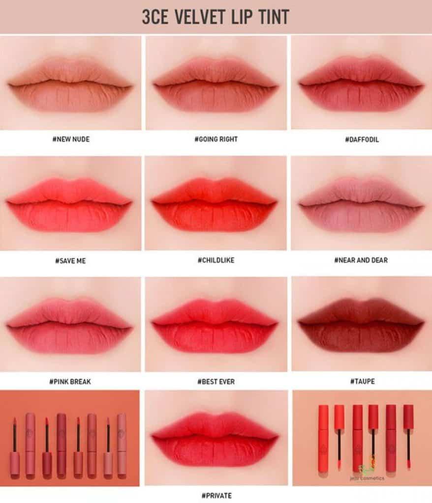 Bảng màu của dòng son 3CE velvet Lip Tint