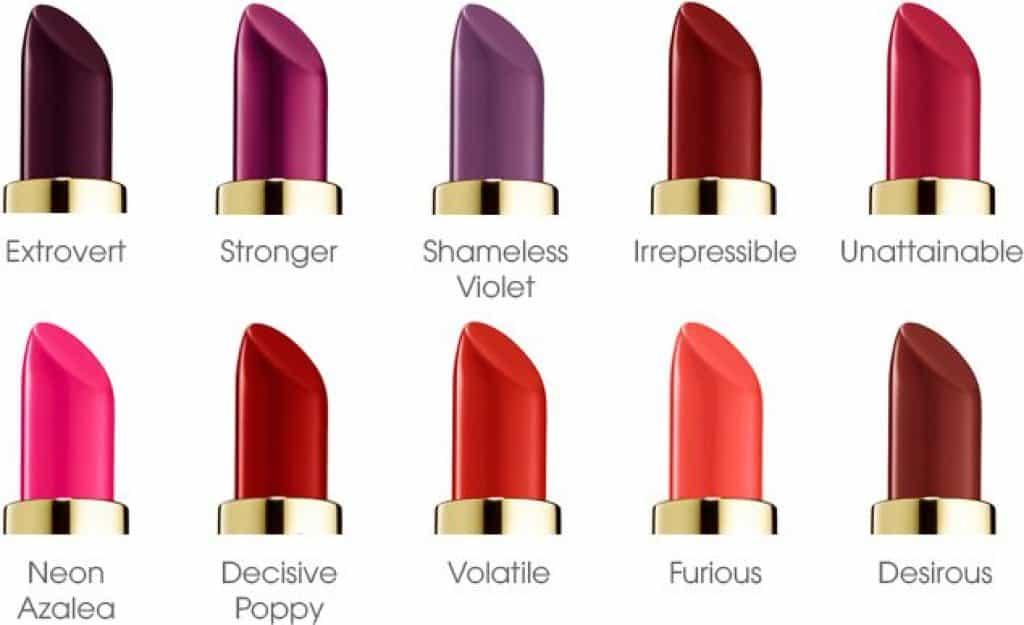 Bảng màu bộ sưu tập son Pure Color Envy Lipstick