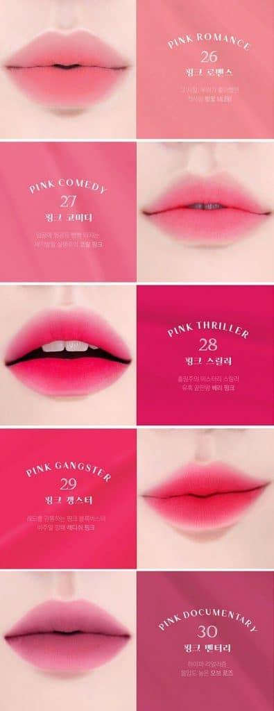 Bảng màu BBIA Last Velvet Lip Tint Ver6